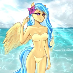 Size: 2000x2000 | Tagged: safe, artist:sweet-queen, oc, oc only, oc:jeppesen, anthro, pegasus, alternate hairstyle, anthro oc, beach, belly, belly button, bikini, bikini bottom, bikini top, bra, breasts, cleavage, clothes, commission, female, flower, flower in hair, mare, ocean, panties, pegasus oc, solo, strapless, strapless bikini, strapless bra, swimsuit, underwear, wings, ych result, your character here