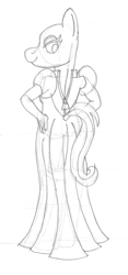 Size: 1023x2178   Tagged: safe, artist:supra80, oc, anthro, unguligrade anthro, anthro oc, black and white, clothes, crossdressing, dress, femboy, grayscale, hand on hip, looking back, looking over shoulder, male, monochrome, sketch, traditional art