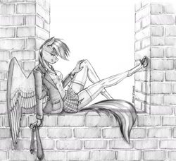 Size: 1400x1276 | Tagged: safe, artist:baron engel, rainbow dash, pegasus, anthro, unguligrade anthro, brick wall, clothes, female, legs, miniskirt, monochrome, necktie, pencil drawing, school uniform, schoolgirl, seductive, seductive pose, sitting, skirt, socks, solo, stupid sexy rainbow dash, thigh highs, traditional art, zettai ryouiki