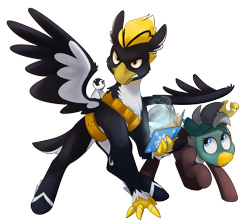 Size: 3276x2935 | Tagged: safe, artist:luximus17, oc, oc only, oc:dolan, oc:duk, oc:ping wing, bird, duck, duck pony, penguin, ponyfinder, arcanist, bard, book, cute, dungeons and dragons, duo, fantasy class, magic, mah waif, pen and paper rpg, protecting, quack, quak, rpg, simple background, spellbook, transparent background
