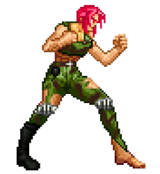 Size: 705x766 | Tagged: artist needed, safe, oc, oc only, oc:milly scratch, human, abs, barefoot, barely pony related, belt, boots, bottomless, camouflage, clenched fist, clothes, digital art, feet, female, fighter, fist, fit, full body, grenade, humanized, humanized oc, imminent fight, implied fight, military, moderate dark skin, muscles, muscular female, pants, pixel art, pixels, profile, red eyes, red hair, rude, serious, serious face, shoes, simple background, solo, sprite, standing, tanktop, tomboy, toned, torn clothes, transparent background
