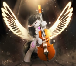Size: 1000x865 | Tagged: safe, artist:lostdreamm, octavia melody, earth pony, pony, bow (instrument), cello, cello bow, crepuscular rays, eyes closed, female, mare, musical instrument, necktie, open mouth, solo, wings