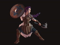 Size: 4000x3000 | Tagged: safe, artist:maxiima, rarity, human, axe, badass, battle axe, black background, boots, braid, face paint, humanized, leather armor, shield, shoes, simple background, solo, viking, weapon