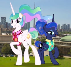 Size: 1280x1200 | Tagged: safe, artist:jhayarr23, artist:princesslunayay, princess celestia, princess luna, alicorn, human, pony, between dark and dawn, canada, car, city, clothes, cute, cutelestia, deviantart watermark, female, giant ponies in real life, giant pony, giantess, giantlestia, hawaiian shirt, highrise ponies, holiday, irl, irl human, lunabetes, macro, mega celestia, mega luna, obtrusive watermark, photo, ponies in real life, royal sisters, shirt, siblings, sisters, toronto, watermark