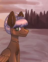 Size: 1622x2104 | Tagged: safe, artist:raya, oc, oc:rosalie, pegasus, bangs, beach, braid, commission, jewelry, looking at you, necklace, pegasus oc, scenery, solo, sunset, tree