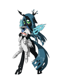Size: 1200x1600   Tagged: safe, artist:tomat-in-cup, queen chrysalis, oc, changeling, changeling queen, pegasus, pony, zebra, bipedal, blushing, duo, eyes closed, female, holding a pony, pegasus oc, simple background, smiling, transparent background, wings