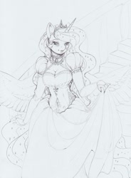 Size: 1211x1642 | Tagged: safe, artist:longinius, princess luna, alicorn, anthro, black and white, blushing, breasts, choker, cleavage, clothes, costume porn, crown, dress, ear piercing, earring, ethereal mane, eyelashes, female, gown, grayscale, horn, jewelry, lineart, looking at you, mare, monochrome, piercing, regalia, simple background, sketch, solo, spread wings, starry mane, traditional art, wings