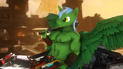 Size: 3840x2160   Tagged: safe, artist:vladichslg, oc, oc:green hit, alicorn, anthro, 3d, abs, alicorn oc, anthro oc, borderlands, bracelet, crossover, fetish, green skin, horn, jewelry, male, muscle fetish, muscles, nipples, nudity, partial nudity, source filmmaker, vehicle, vein, weapon, wings