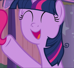 Size: 785x722 | Tagged: safe, screencap, twilight sparkle, alicorn, a trivial pursuit, cropped, cute, eyes closed, messy mane, offscreen character, open mouth, smiling, solo, twiabetes, twilight sparkle (alicorn)