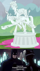 Size: 500x878 | Tagged: safe, edit, edited screencap, screencap, cozy glow, lord tirek, queen chrysalis, the ending of the end, batman, catwoman, legion of doom statue, petrification