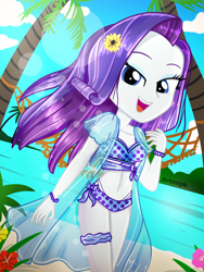 Size: 1800x2400 | Tagged: safe, artist:artmlpk, rarity, equestria girls, adorable face, adorasexy, adorkable, beach, beautiful, bikini, bow, bracelet, clothes, cute, design, digital art, dork, female, flower, flower in hair, garter, hair, jewelry, lidded eyes, looking at you, ocean, open mouth, outfit, palm tree, plant, raribetes, scrunchie, sexy, smiley face, smiling, smiling at you, solo, summer, sunflare, sunflower, swimsuit, tree, two piece swimsuit