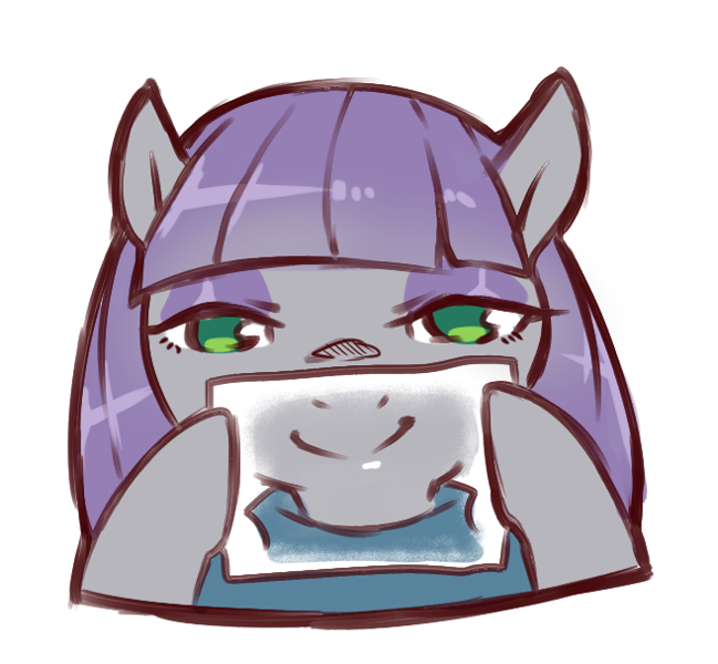 Size: 657x607 | Tagged: safe, artist:cold-blooded-twilight, maud pie, earth pony, pony, clothes, covering mouth, cute, featured image, female, happy face, hiding, lidded eyes, looking at you, maudabetes, simple background, smiling, solo, sweet dreams fuel, when she smiles