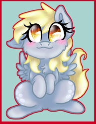 Size: 1024x1326 | Tagged: safe, artist:sakuwolf666, derpy hooves, pegasus, pony, blushing, chest fluff, cute, derpabetes, ear down, female, looking at you, mare, sitting, solo