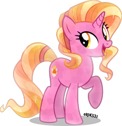 Size: 3882x4000 | Tagged: safe, artist:orin331, luster dawn, crystal pony, pony, unicorn, crystallized, cute, female, high res, lusterbetes, mare, open mouth, raised hoof, signature, simple background, solo, transparent background