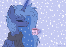 Size: 1500x1080   Tagged: safe, artist:pink-pone, princess luna, alicorn, pony, chocolate, clothes, eyes closed, female, food, hot chocolate, mare, scarf, snow, snowfall