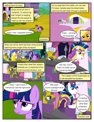 Size: 612x792 | Tagged: safe, artist:newbiespud, edit, edited screencap, screencap, applejack, princess celestia, shining armor, twilight sparkle, alicorn, earth pony, pony, unicorn, comic:friendship is dragons, a canterlot wedding, armor, castle, comic, dialogue, female, helmet, looking down, male, mare, royal guard, screencap comic, spear, stallion, telescope, unicorn twilight, weapon
