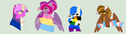 Size: 3004x820 | Tagged: safe, artist:circuspaparazzi5678, oc, oc:coraline, oc:delilah dusk, oc:krispy star, oc:tiffany stars, bat pony, earth pony, pegasus, pony, base used, bisexual, bisexual pride flag, female, male, pansexual, pansexual pride flag, pride, pride flag, pride month, pride ponies, red nose, reindeer pony, straight, straight ally, straight ally flag, transgender, transgender pride flag