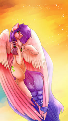 Size: 1080x1920 | Tagged: safe, artist:dinkydoolove, oc, oc only, oc:daisy emerald, pegasus, pony, braid, female, large mane, large wings, mare, pegasus oc, solo, wings