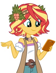 Size: 1024x1336 | Tagged: safe, artist:emeraldblast63, sunset shimmer, vignette valencia, equestria girls, equestria girls series, alternate hairstyle, beautiful, cellphone, clothes swap, cute, female, flower, flower in hair, hairstyle swap, holly, phone, shimmerbetes, short hair, simple background, smartphone, solo, transparent background