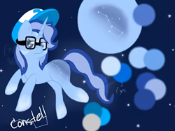 Size: 518x388 | Tagged: artist needed, safe, oc, oc only, pony, unicorn, constellation, full moon, glasses, hat, horn, moon, night, reference sheet, stars, unamused, unicorn oc