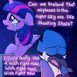Size: 3000x3000 | Tagged: safe, artist:moozua, twilight sparkle, alicorn, bird, blue jay, pony, aeroplanes and meteor showers, airplanes (song), b.o.b., crossover, crossover shipping, crying, dialogue, female, hayley williams, lyrics, male, mare, mordecai, mordetwi, night, redraw mordetwi meme, regular show, sad, shipping, song reference, stars, straight, teary eyes, text, twilight sparkle (alicorn)