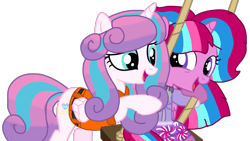 Size: 1917x1080 | Tagged: safe, artist:徐詩珮, princess flurry heart, oc, oc:bubble sparkle, alicorn, pony, bubbleverse, series:sprglitemplight diary, series:sprglitemplight life jacket days, series:springshadowdrops diary, series:springshadowdrops life jacket days, alternate universe, base used, canon x oc, clothes, cousins, female, filly, flurrybble, incest, lifejacket, magical lesbian spawn, magical threesome spawn, multiple parents, next generation, offspring, older, older flurry heart, parent:glitter drops, parent:spring rain, parent:tempest shadow, parent:twilight sparkle, parents:glittershadow, parents:sprglitemplight, parents:springdrops, parents:springshadow, parents:springshadowdrops, paw patrol, simple background, transparent background