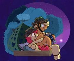 Size: 1880x1534 | Tagged: safe, artist:modularpon, artist:themodpony, apple bloom, applejack, earth pony, pony, going to seed, binoculars, duo, female, helmet, night, night sky, pillow, profile, siblings, sisters, sky, stars, tree