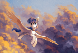 Size: 2951x2000 | Tagged: safe, artist:koviry, oc, oc only, oc:snow pup, pegasus, pony, cloud, cloudy, collar, female, flying, mare, sky, smiling, solo, spread wings, sunset, wings