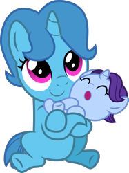 Size: 4000x5347 | Tagged: safe, artist:melisareb, november rain, spring rain, pony, unicorn, rain siblings, .svg available, absurd resolution, baby, baby pony, base used, brother and sister, carrying, colt, cute, duo, female, filly, filly spring rain, friendship student, headcanon, inkscape, male, novemberbetes, siblings, simple background, springbetes, transparent background, vector, younger