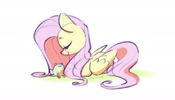 Size: 2000x1143 | Tagged: safe, artist:dawnfire, fluttershy, frog, pegasus, pony, cute, eyes closed, female, lying down, mare, profile, shyabetes, signature, simple background, solo, white background