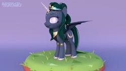 Size: 1600x900   Tagged: safe, artist:regendary, oc, oc only, oc:empress, alicorn, bat pony, bat pony alicorn, pony, 3d, bat wings, female, horn, mare, solo, wings