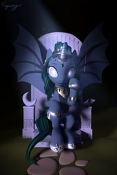 Size: 1600x2375   Tagged: safe, artist:regendary, oc, oc only, oc:empress, alicorn, bat pony, bat pony alicorn, pony, 3d, bat wings, female, horn, mare, solo, wings