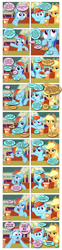 Size: 868x3488 | Tagged: safe, artist:dziadek1990, edit, edited screencap, screencap, applejack, ocellus, rainbow dash, changedling, changeling, the saddle row review, comic, conversation, dialogue, disguise, disguised changeling, impersonating, in character, out of character, panic, panicking, pretend, screencap comic, slice of life, text, underaged drinking