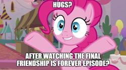 Size: 888x499 | Tagged: safe, artist:mlpfan3991, edit, edited screencap, screencap, pinkie pie, earth pony, pony, memories and more, spoiler:memories and more, bipedal, caption, female, friendship is forever:new mlp series, hug request, image macro, mare, outstretched arms, solo, text