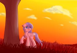Size: 3793x2605   Tagged: safe, artist:whale falda, oc, oc only, pegasus, pony, cloud, dusk, female, sky, solo, tree