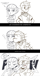 Size: 1231x2290 | Tagged: safe, artist:graytyphoon, part of a set, limestone pie, oc, oc:copper plume, equestria girls, blood, blushing, canon x oc, clothes, comic, commission, commissioner:imperfectxiii, crossed arms, cute, dialogue, elbowing, equestria girls-ified, eyes closed, female, freckles, glasses, jacket, kiss on the cheek, kissing, limabetes, limeplume, limetsun pie, male, monochrome, neckerchief, pouting, punch, shipping, shirt, straight, surprised, thought bubble, tsundere, wide eyes