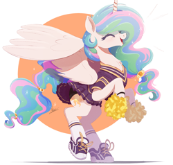 Size: 1500x1430 | Tagged: safe, artist:ncmares, princess celestia, alicorn, pony, abstract background, alternate hairstyle, cheerleader, cheerleader outfit, chest fluff, clothes, cute, cutelestia, diabetes, eyes closed, female, mare, open mouth, pom pom, shoes, socks, solo