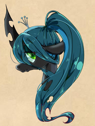 Size: 768x1024 | Tagged: safe, artist:tomizawa96, queen chrysalis, changeling, changeling queen, alternate hairstyle, bust, crown, cute, cutealis, female, jewelry, pixiv, ponytail, portrait, profile, regalia, solo