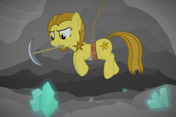 Size: 3000x2000   Tagged: safe, artist:devfield, oc, oc:golden star, earth pony, pony, atg 2020, bone, cave, chisel, crystal, female, glow, harness, mare, mouth hold, newbie artist training grounds, pickaxe, rope, show accurate, skull, smug, solo, tack, teeth, tools, two toned mane, two toned tail, vignette