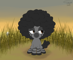 Size: 6000x5000 | Tagged: safe, artist:skunk bunk, oc, oc only, zebra, afro, brown eyes, clearing, cute, detailed background, female, field, filly, foal, grass, hooves, sitting, smiling, smirk, smug, solo, stripes, sun, zebra oc