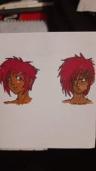 Size: 540x960 | Tagged: safe, artist:noi reptilian, oc, oc only, oc:milly scratch, human, barely pony related, bottomless, bust, clothes, dark skin, expressions, face, female, hair over one eye, humanized, humanized oc, intrigued, lidded eyes, looking at you, looking to side, moderate dark skin, narrowed eyes, red eyes, red hair, serious, serious face, simple background, solo, tomboy, traditional art, white background