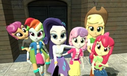 Size: 1280x768 | Tagged: safe, artist:n3onh100, apple bloom, applejack, rainbow dash, rarity, scootaloo, sweetie belle, equestria girls, 2010s, 2017, 3d, blonde hair, blouse, blue eyes, blue skin, boots, clothes, compression shorts, cowboy hat, cute, female, freckles, hat, hoodie, hug, jacket, jeans, looking at each other, looking at you, multicolored hair, on back, orange skin, pants, purple hair, rainbow hair, red hair, selfie, selfie stick, shirt, shoes, shorts, siblings, sisters, skirt, smiling, source filmmaker, white skin