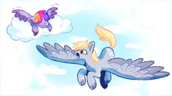 Size: 1600x889 | Tagged: safe, artist:mylittlegami, derpy hooves, oc, oc:mild glow, pegasus, pony, cloud, female, filly, flying, flying lesson, lying on a cloud, magical lesbian spawn, mare, mother and child, mother and daughter, offspring, on a cloud, parent:derpy hooves, parent:twilight sparkle, parents:twerpy, solo