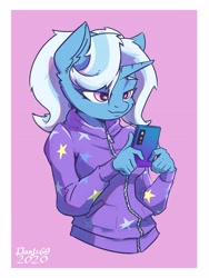 Size: 2880x3840 | Tagged: safe, artist:danli69, trixie, anthro, unicorn, alternate hairstyle, babysitter trixie, cellphone, clothes, ear fluff, female, gameloft, gameloft interpretation, hoodie, jacket, mare, phone, pigtails, pink background, simple background, smartphone, smiling, solo, twintails