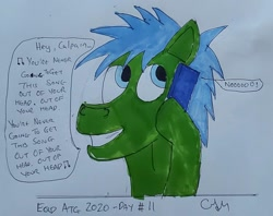 Size: 1128x895 | Tagged: safe, artist:rapidsnap, oc, oc only, oc:rapidsnap, phone, solo, traditional art
