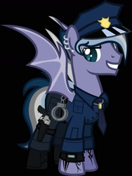 Size: 1250x1666 | Tagged: safe, artist:n0kkun, oc, oc:night storm (ice1517), bat pony, pony, bat pony oc, bat wings, black background, boots, clothes, cuffs, ear piercing, earring, eyebrow piercing, grin, gun, handgun, hat, holster, jewelry, male, multicolored hair, necklace, necktie, pants, piercing, police, police hat, police officer, revolver, ring, shirt, shoes, simple background, smiling, solo, stallion, tattoo, watch, wedding ring, wings, wristwatch