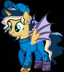 Size: 1250x1417   Tagged: safe, artist:n0kkun, oc, oc only, oc:hightune stormblazer, alicorn, bat pony, bat pony alicorn, pony, icey-verse, alicorn oc, baseball cap, bat pony oc, bat wings, black background, boots, cap, clothes, ear piercing, earring, female, grin, hat, horn, jewelry, jumpsuit, lip piercing, mare, mechanic, multicolored hair, nose piercing, offspring, oil, parent:oc:elizabat stormfeather, parent:oc:trail blazer (ice1517), parents:oc x oc, piercing, raised hoof, shoes, simple background, smiling, solo, tattoo, wings