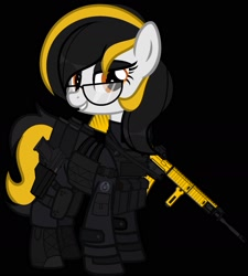 Size: 1500x1667 | Tagged: safe, artist:n0kkun, oc, oc only, oc:zealous stripes, earth pony, pony, armor, assault rifle, bedroom eyes, black background, boots, call of duty, clothes, commission, eyeshadow, female, glasses, gloves, grin, gun, handgun, knee pads, m4a1, makeup, mare, modern warfare, pants, pistol, rifle, shoes, simple background, smiling, solo, weapon