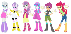 Size: 1969x947   Tagged: safe, artist:ebithebluecat99, artist:selenaede, apple bloom, diamond tiara, princess flurry heart, scootaloo, silver spoon, sweetie belle, equestria girls, apple bloom's bow, belt, boots, bow, clothes, cutie mark crusaders, dress, equestria girls-ified, glasses, hair bow, hand on hip, high heel boots, hoodie, jacket, jeans, jewelry, looking at you, necklace, older, older apple bloom, older cmc, older diamond tiara, older flurry heart, older scootaloo, older silver spoon, older sweetie belle, pants, pose, shirt, shoes, shorts, signature, simple background, skirt, white background