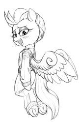 Size: 1293x1959 | Tagged: safe, artist:whydomenhavenipples, lightning dust, pegasus, pony, bedroom eyes, clothes, female, flying, frog (hoof), hoofbutt, lineart, looking at you, mare, monochrome, smiling, solo, underhoof